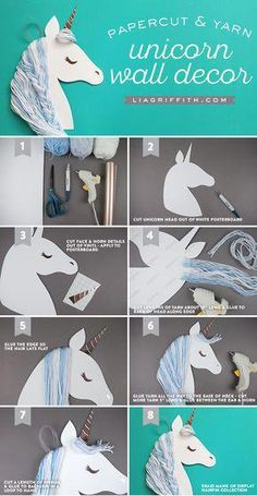 DIY Paper Unicorn Wall Art — Craft With Your Kids Make your own DIY Unicorn wall art with your kids Will make this a party activity for my daughter's next birthday. Make your own DIY Unicorn wall art with your kids Walls of Whimsy ✨ Do you have a lit Unicorn Wall Art, Unicorn Rooms, Unicorn Bedroom, Party Unicorn, Unicorn Birthday Parties, Diy Birthday, Rainbow Unicorn, Unicorn Pinata, Diy Craft Projects