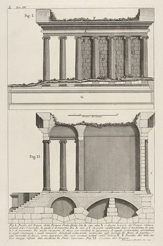 Giovanni Battista Piranesi | Profile of the Temple of Fortuna Virilis (Profilo del Tempio della Fortuna Virile), and section of the temple, from the series 'Le Antichità Romane' | The Met