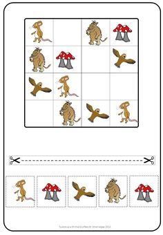 This set has15 different cut and paste sudokus and 5 different find the pattern worksheets with the Gruffalo characters. They are great for visual discrimination.Enjoy!