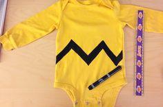 Easy, Cheap DIY Toddler Charlie Brown Halloween Costume - 5 minute photo tutorial