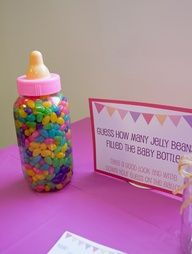"""""""Guess how many jelly beans filled the baby bottle"""" - Baby Shower Game"""