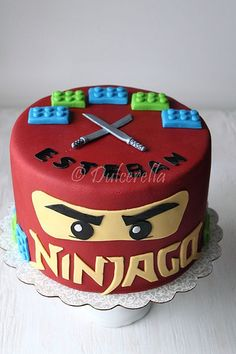 Image via We just made a similar birthday cake using two pans and jumbo marshmallows sliced in thirds. We made 6 bricks per pan with 2 long cuts and one… Image via lego cake, lego pa Bolo Ninjago, Bolo Lego, Lego Ninjago Cake, Ninjago Party, Superhero Cake, Ninja Birthday Parties, Cake Birthday, 5th Birthday, Birthday Ideas