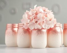 Set of 6 Glitter Vases, Rose Gold and Ivory Ombre Centerpiece, Rose Gold Home Decor, Glitter Mason Jars, Rose Gold Wedding Decor Rose Gold Centerpiece, Rose Gold Decor, Gold Home Decor, Mason Jar Centerpieces, Rose Vase, Glitter Mason Jars, Painted Mason Jars, Pink Mason Jars, Mason Jar With Flowers