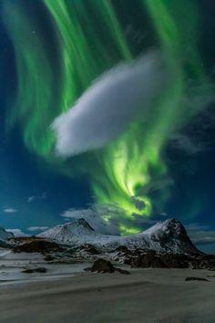 ~~Northern lights aurora Borealis lights up the night sky over Myrland, Lofoten, Norway by brigitte mohn~~ Beautiful Sky, Beautiful Landscapes, Beautiful World, Beautiful Places, Lofoten, Aurora Borealis, Borealis Lights, Ciel Nocturne, Northen Lights