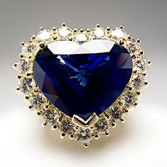 Heart Blue Sapphire & Halo Diamond Cocktail Ring Solid 18K Gold - EraGem by Gmomma