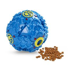 Dog Treat Dispensing Toy ATESSON Interactive IQ Treat Training Toy Squeaky Dispenser Ball for Dogs 3 in Diameter Small Blue ** Click on the image for additional details.
