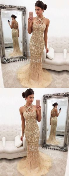 Champagne Mermaid Zipper-Back Crystals Gorgeous Halter Sleeveless Long Prom Dress, PD0500 #promdresseslong #longpromdresses