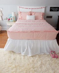 """Her beautiful bedding is from @beddysbeds and it is a soft blush color. (Vintage Blush LL) It is perfect for Harp's room! @beddysbeds is offering 15% off your purchase when you use code """"OVF15"""" checking out."""