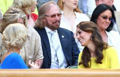 Musician Barry Gibb watches on from The Royal Box as Serena Williams of The United States plays Elena Vesnina of Russia in the Ladies Singles Semi Final match on day ten of the Wimbledon Lawn Tennis Championships at the All England Lawn Tennis and Croquet Club on July 7, 2016 in London, England.