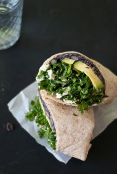 simple kale and black bean burritos