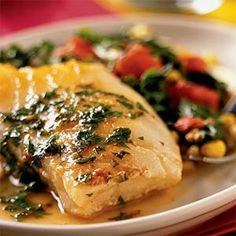 Sea Bass and Confetti Vegetables with Lemon-Butter Sauce | MyRecipes.com
