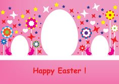 Happy Easter pink card design with bunnies, hearts and flowers. Free vector graphic design for download.