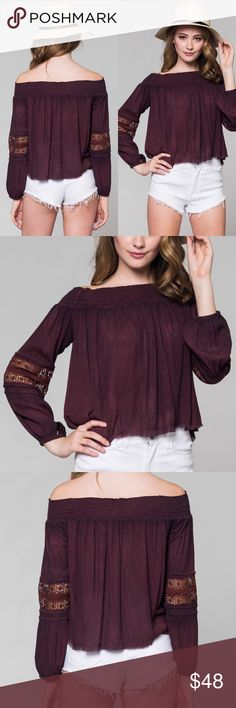 Bordeaux Boho Blouse Off-the-shoulder bohemian peasant blouse with lace sleeve detail.                                                            100% rayon                                                          Boutique                                                             Limited sizes available S, M, L Boutique Tops Blouses