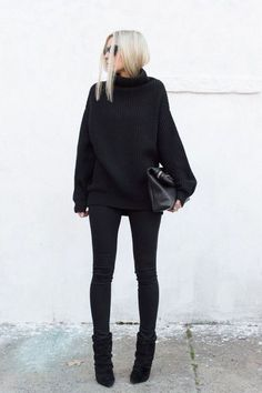 Love the entire black outfit look-- very classy. maybe add a broach/pin/ necklace for… - Love the entire black outfit look& very classy. maybe add a broach/pin/ necklace for a pop of color and an accesory Fall Winter Outfits, Autumn Winter Fashion, Autumn Casual, Winter Wear, Winter Style, Preppy Winter, Summer Outfits, Casual Summer, Dress Winter