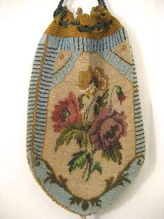 Antique Vintage Beaded Purse Floral Reticule Bag Handbag (detail)