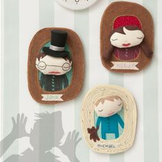 """A delightful sneak peek at the upcoming autumn issue of Stuffed: hanging portraits of the gang from """"Peter Pan"""" by Wendy Somaru."""