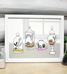 A collection of brightly colored terrariums for a little indoor greenery, even for the most garden-deficient.