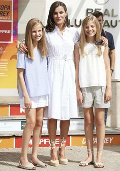 Spanish Royal family attended the Mapfre King's Cup sailing event Queen Letizia wore Adolfo Dominguez embroidered cotton dress and Mint & Rose shoes.Crown Princess Leonor and Infanta Sofia Princess Of Spain, Princess Sofia, Prince And Princess, Summer Outfits, Girl Outfits, Summer Dresses, Royal Fashion, Girl Fashion, Style Royal