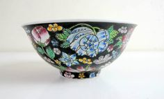 Zhongguo (China) Jingdezhen  Bowl  hand painted Famille Noir Million Flowers Rose Bowl by BountyFromThePast on Etsy