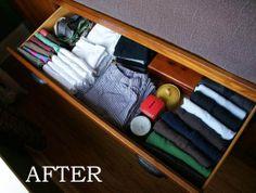 pra organizar gavetas - nunca pensei em colocar caixinhas entre as roupas!