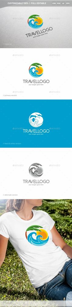 Travel Logo Template: Nature Green Logo Design Template by ukido. Logo Design Template, Logo Templates, Travel Tips With Baby, Summer Nature Photography, Hotel Logo, Logo Type, Nature Artwork, Travel Logo, Travel Design