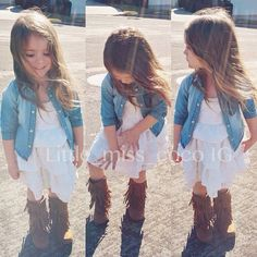 kids fashion, summer dress with denim and boots