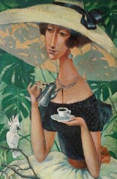 Painting «Not titled Cafe Art, Tea Art, Printmaking, Folk Art, Fantasy Art, Contemporary Art, My Arts, Drawings, Illustration