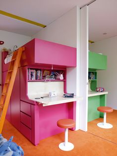 beds and storage with built in desk. Space saver for multiple children plus giving kids privacy with a wall and sliding door