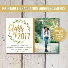 College Graduation Invitation Printable, High School Graduation Announcement, Class of 2017 Senior Announcement College Graduation Printable by ShadesOfGrace1 on Etsy