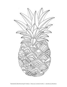 Zentangle Pineapple Coloring Page illustrated by Marie Browning