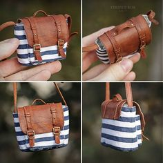 PIC Only: Striped bag for the portrait doll. Made of cotton and leather. Miniature Crafts, Miniature Dolls, Accessoires Barbie, Barbie Clothes Patterns, Mini Craft, Mini Things, Barbie Accessories, Doll Shoes, Doll Crafts