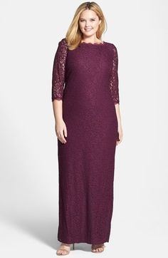 I would add a belt. Adrianna+Papell+Scalloped+Lace+Gown+available+at+#Nordstrom