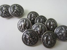 Vintage  Buttons 10 matching antique silver metal by pillowtalkswf, $7.95