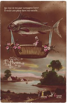 """Poisson d'Avril"" (April fools) postcard -Image via @tammytutterow"