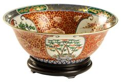 Gold Imari Bowl on Rosewood Stand