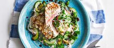 This recipe for seared tuna with ponzu dressing and coriander rice noodles is low calorie, low fat and ready in just 20 minutes