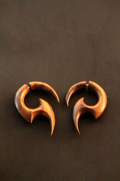 """Handmade Wood Earrings, Fake Gauges Spiral Earring w Tribal Spiral Design, """"Dana"""" Wooden Earrings Wooden Earrings, Clay Earrings, Earrings Handmade, Fake Gauges, Vintage Classics, Bone Carving, Create And Craft, Tribal Fashion, Body Mods"""