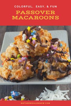 These macaroons are a Passover treat. Colorful and easy, they're great to make with kids. But they're also so good, you'll want to make them when it's not Passover, if you don't have kids, or even if you do not celebrate the holiday. Baking Cakes, Coconut Macaroons, Chocolate Coating, No Bake Cake, Food Hacks, Breads, Sweets, Colorful, Dishes