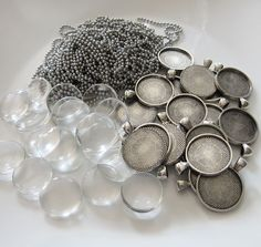 20 Pack Round Antique Silver Glass Picture Charms w/ Ball Chains 1 Inch