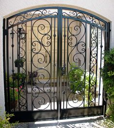 Arched Decorative Double Courtyard Entry Gate