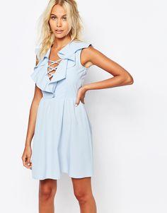 Image 1 ofFashion Union Dress With Ruffles & Lace Up