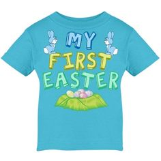 Cute blue Easter baby t-shirt for a little boy to wear on his first Easter. My First Easter in pretty pastels letters above eggs and below pretty blue bunnies for your baby boy's 1st Easter.
