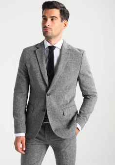 Pier One Suit - mottled grey for Free delivery for orders over Men Formal, Formal Wear, Mens Suits, Suit Jacket, Fashion Suits, Mens Fashion, Costumes, Outfits, Grey