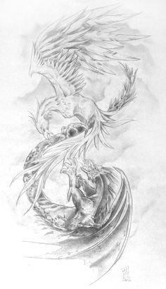 phoenix dragon tattoos | Dragon Vs Phoenix Alex Grey Tattoo Picture #dragon #tattoos #tattoo