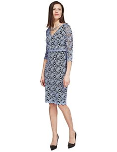 Buy the Double Layered Scallop Lace Shift Dress from Marks and Spencer's range. Simple Shapes, Scalloped Lace, Mother Of The Bride, Dresses For Work, Sleeves, Stuff To Buy, Style, Fashion, Mother Bride