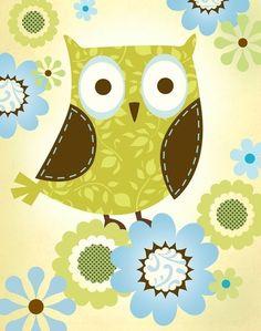 Patterned Owl Art Print by pictorialboom on Etsy, $15.00