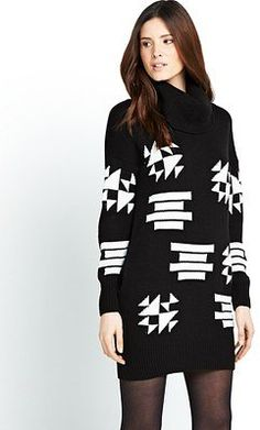 Definitions Chequer Board Cowl Neck Dress, black/white