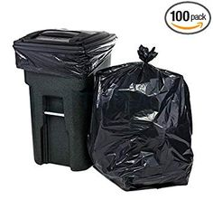 Heavy Duty Can Liners 100 count 33x39 inches 10 rolls 32-33 Gallon Black BTGR-39XH 1.5Mil Thick Low Density LDPE MADE IN USA