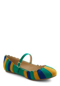 Umbrella Statement Flat in Green - Green, Multi, Stripes, Scallops, Mary Jane, Colorblocking, Flat, Variation, Top Rated