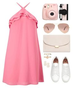 """""""Senza titolo #5292"""" by waikiki24 ❤ liked on Polyvore featuring Miss Selfridge, Mansur Gavriel, Ray-Ban, Fujifilm, Kate Spade, Accessorize and halterdresses"""
